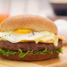 Burger and egg with Holladaise sauce - food photography